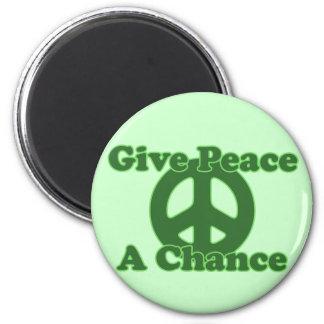 Dé a paz una oportunidad imán redondo 5 cm