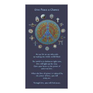 Dé a paz una oportunidad tarjetas fotograficas personalizadas
