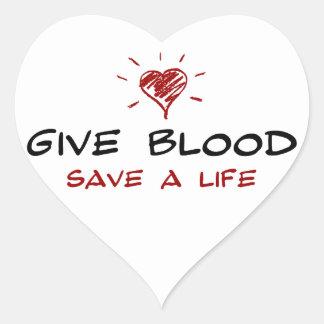 Dé a reserva de la sangre a la vida pegatina de corazón