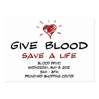 Dé a reserva de la sangre una campaña de donación tarjetas de visita grandes