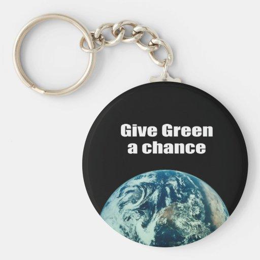 Dé a verde una oportunidad llavero redondo tipo pin