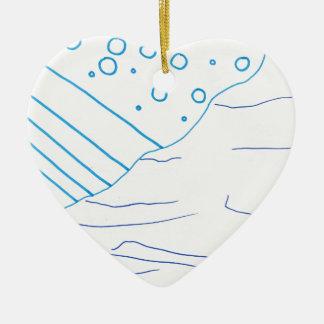 De aguas adorno navideño de cerámica en forma de corazón