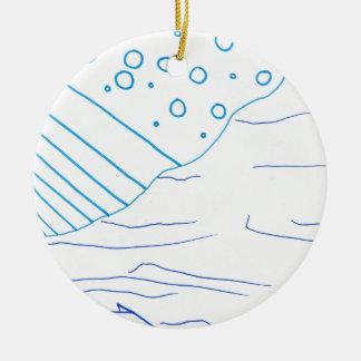De aguas adorno navideño redondo de cerámica