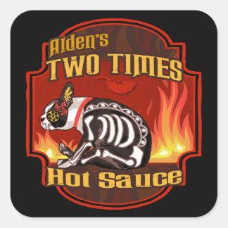 De Alden de la salsa caliente de dos veces Pegatina Cuadrada