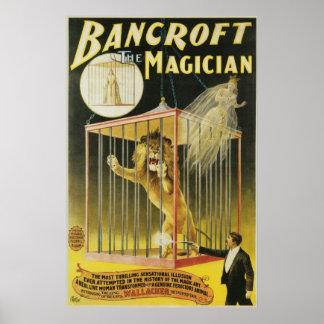 ~ de Bancroft el acto mágico del vintage del mago Póster
