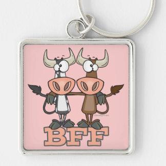 De BFF de la vaca de los mejores amigos compinches Llavero Cuadrado Plateado