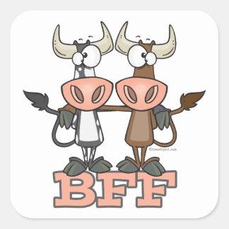 De BFF de la vaca de los mejores amigos compinches Calcomanías Cuadradass