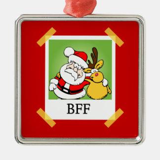 De BFF de los mejores amigos ornamento del navidad Adorno Navideño Cuadrado De Metal