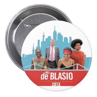 De Blasio para el alcalde Pin Redondo De 3 Pulgadas
