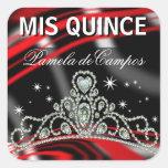 De Blinged tiara chispeante hacia fuera Calcomanías Cuadradas Personalizadas