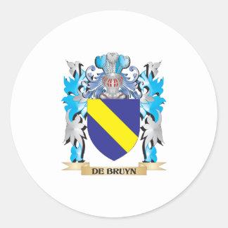 De-Bruyn escudo de armas - escudo de la familia Pegatinas Redondas