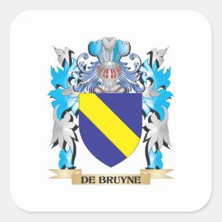 De-Bruyne escudo de armas - escudo de la familia Calcomanías Cuadradass Personalizadas