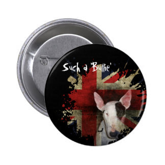 ¼ de bull terrier Union Jack 2 redondo Pin Redondo De 2 Pulgadas