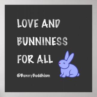 De Bunniness del Buddhism del conejito poster del