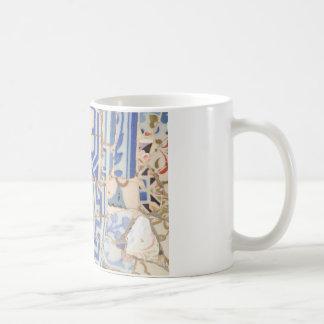 De cerámica azul taza básica blanca