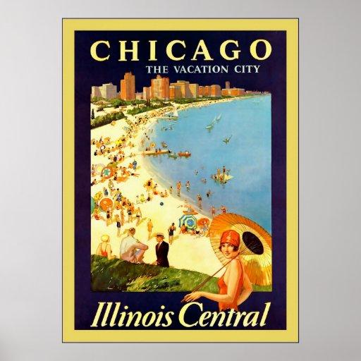 ~ de Chicago el viaje del vintage del ~ de la ciud Impresiones