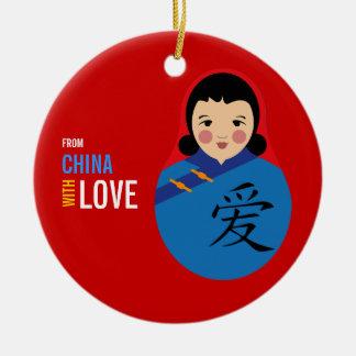 De China con el chica del recuerdo de la adopción Adorno