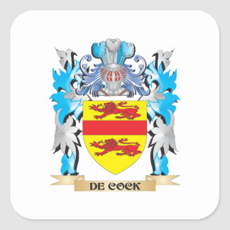 De-Cock Coat of Arms - Family Crest Square Sticker