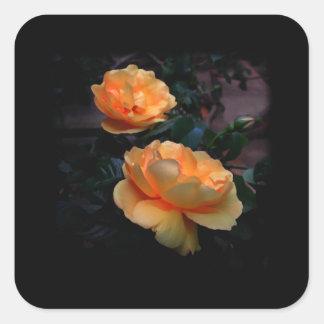 De color amarillo oscuro - rosas anaranjados, en pegatina cuadrada