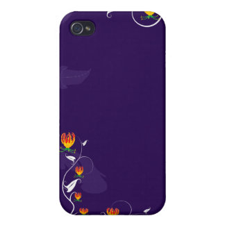 De color morado oscuro con las floraciones vibrant iPhone 4/4S funda