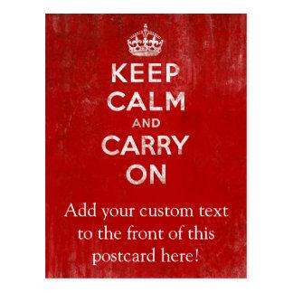 De color rojo oscuro del vintage apenada guardan tarjeta postal