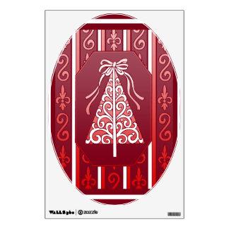 De color rojo oscuro y blanco remolina el árbol de vinilo adhesivo