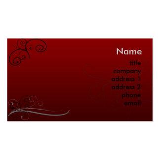 De color rojo oscuro y remolinos tarjetas de visita