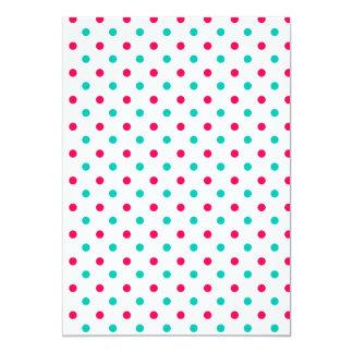 """De color rosa oscuro, aguamarina, polca blanca invitación 5"""" x 7"""""""