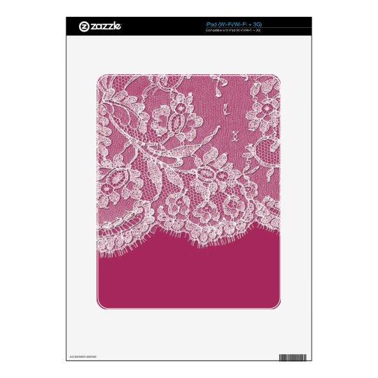 De color rosa oscuro con el cordón blanco iPad skin