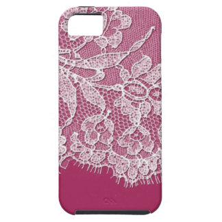 De color rosa oscuro con el cordón blanco iPhone 5 carcasas