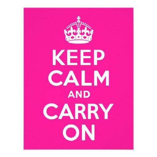 De color rosa oscuro guarde la calma y continúe anuncios