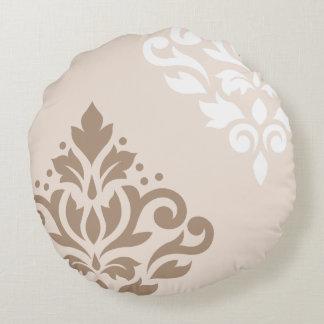 De color topo ligero y blanco del arte I del Cojín Redondo