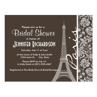 De color topo oscuro, damasco de Brown; París Tarjetas Postales