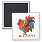 "De Colores Rooster Gallo 2"" Square Magnet"