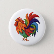 De Colores Rooster Gallo Button