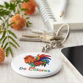 De Colores Rooster Gallo Button Keychain