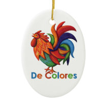 De Colores Rooster Gallo Ceramic Ornament