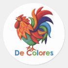 De Colores Rooster Gallo Round Sticker, Matte Classic Round Sticker