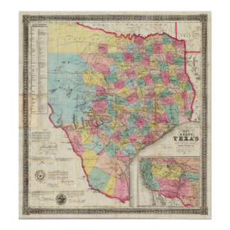 De Cordova's Map of Texas Poster
