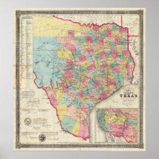 De Cordova's Map of Texas Poster