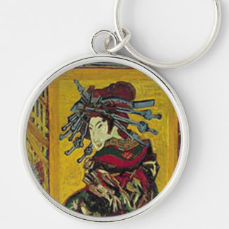 De Courtisane by Vincent van Gogh Silver-Colored Round Keychain