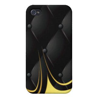 de cuero acolchado negro del monograma iPhone 4 protector