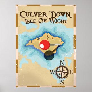 De Culver isla abajo del poster del viaje de