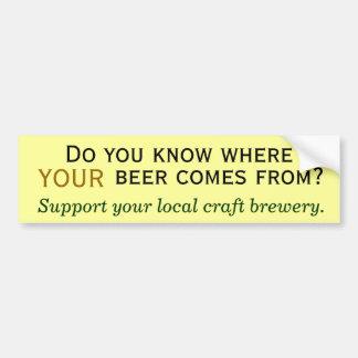 ¿De dónde su cerveza viene? Etiqueta De Parachoque