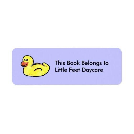 De Duckin propiedad adelante -/etiqueta del libro Etiquetas De Remite