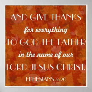 Dé el 5:20 de Ephesians del verso de la biblia de Póster