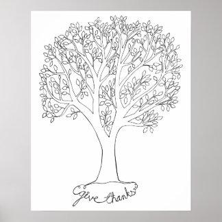 Dé el árbol de las gracias posters