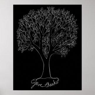 Dé el árbol de las gracias impresiones