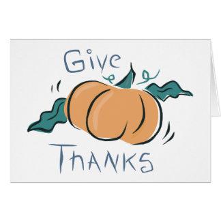 Dé el Doodle de la calabaza de las gracias Tarjeta De Felicitación