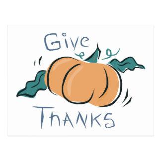 Dé el Doodle de la calabaza de las gracias Tarjetas Postales